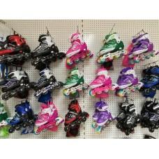 """Роликовые коньки """"YU-YU"""" pink c защитой р.35-38"""