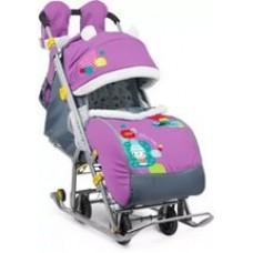 Санки-коляска Ника Детям 7-2 Снеговик (орхидея)