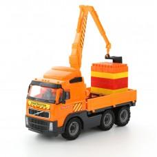 """Автомобиль """"Volvo"""" кран с манипулятором + конструктор """"Супер-Микс"""" - 30 элементов на поддоне (в коробке) 9586"""