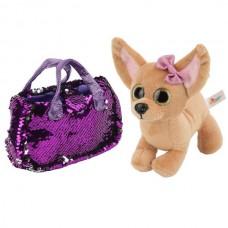 """Мягкая игрушка собака чихуахуа 19см в сумочке из пайеток ТМ """"ИГРАЕМ ВМЕСТЕ"""" в пак. CT181115-19R2"""