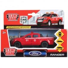 Машина металл FORD Ranger пикап пожарный 12см, открыв. двери, инерц. в кор. Технопарк SB-18-09-FR-F
