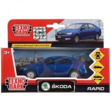 Машина металл SKODA Rapid синяя 12см, открыв. двери и багажник, инерц. в кор. Технопарк SB-18-22-SR-N(BU)-WB