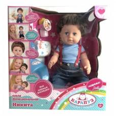 Кукла Никита, 6 функций, 40см, пьет, писает, плачет наст. слезами, с аксесс. в кор Карапуз BLS002BR
