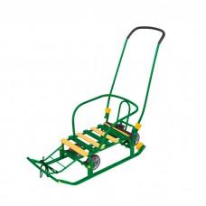 Санки Тимка 5 УНИВЕРСАЛ зелёный (выдвижные колеса)