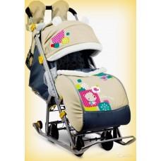 Санки-коляска Ника Детям 7-2 Мишка (бежевый)