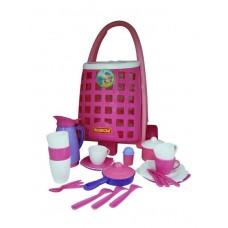Тележка забавная + набор детской посуды (31 элем.) 44389
