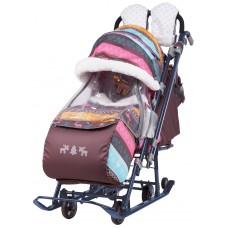 Санки-коляска Ника Детям 7-3 скандинавия розовый