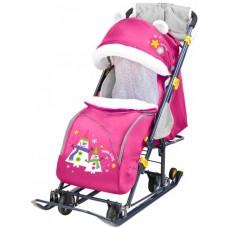 Санки-коляска Ника Детям 7-6 Снеговик (розовый)
