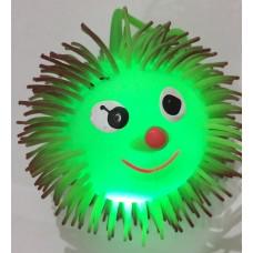 Игрушка-мяч ёжик с цвет. волосами свет.
