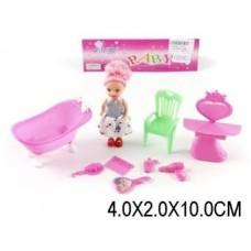 Набор мебели для куклы Ванная комната с куклой 1223С2
