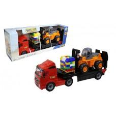 """Автомобиль """"Volvo"""" трейлер + автокар + конструктор """"Супер-Микс"""" - 30 элементов на поддоне (в коробке) 1572"""