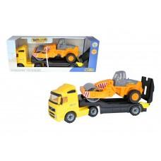 """Автомобиль """"Volvo"""" трейлер + дорожный каток (в коробке) 9630"""